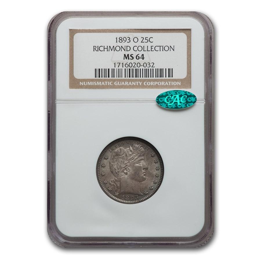 1893-O Barber Quarter MS-64 NGC CAC