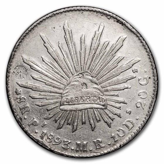 1893-Pi MR Mexico Silver 8 Reales XF (Chopmark)