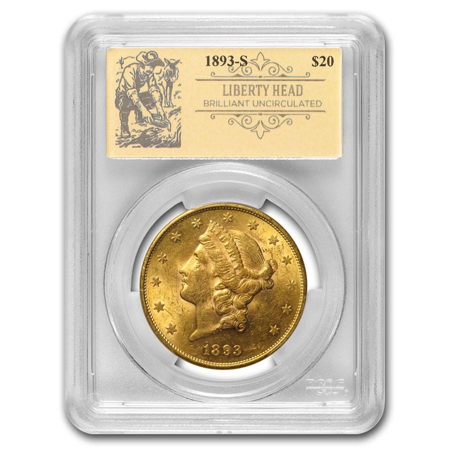 1893-S $20 Liberty Gold Double Eagle BU PCGS (Prospector Label)