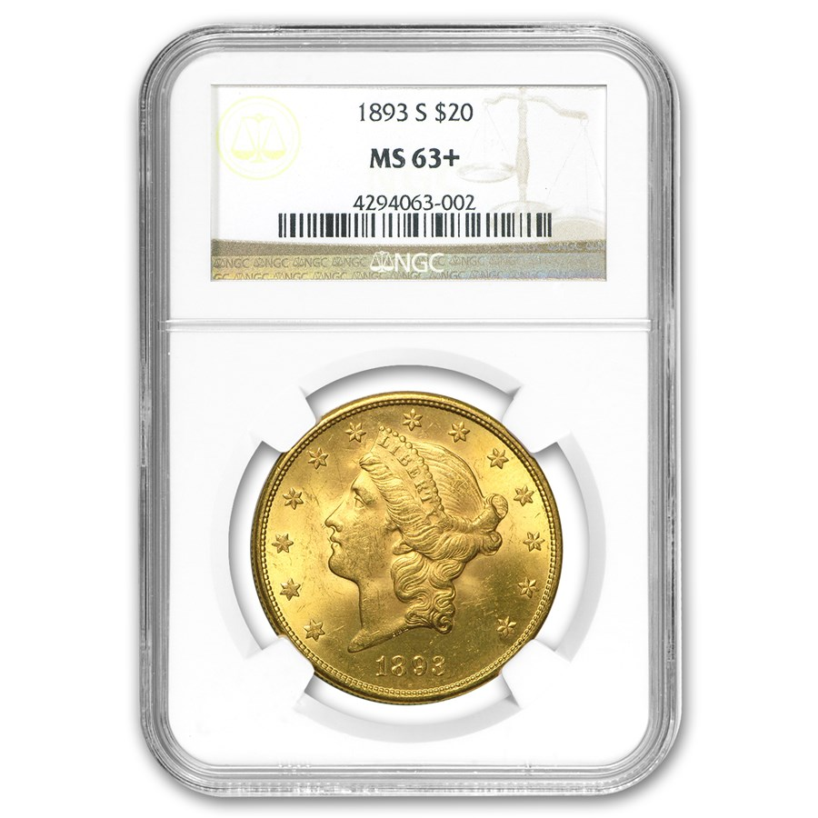 1893-S $20 Liberty Gold Double Eagle MS-63+ NGC