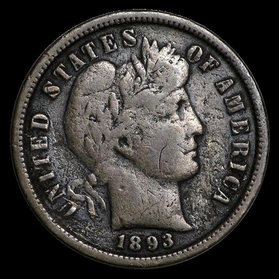 1893-S Barber Dime VG (Details)