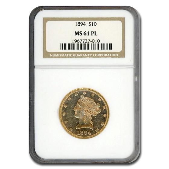 1894 $10 Liberty Gold Eagle MS-61 NGC (PL)