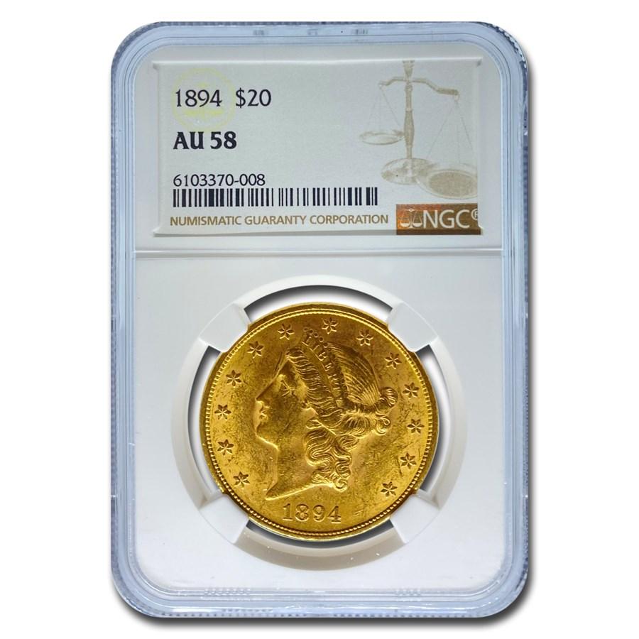 1894 $20 Liberty Gold Double Eagle AU-58 NGC