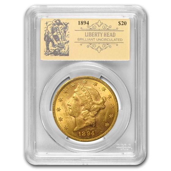 1894 $20 Liberty Gold Double Eagle BU PCGS (Prospector Label)