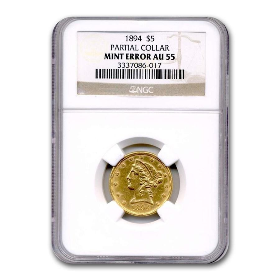 1894 $5 Liberty Gold Half Eagle AU-55 NGC (Partial Collar Error)