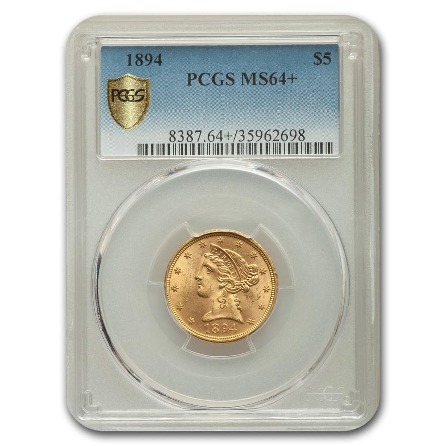 1894 $5 Liberty Gold Half Eagle MS-64+ PCGS