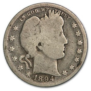 1894 Barber Quarter Good/VG