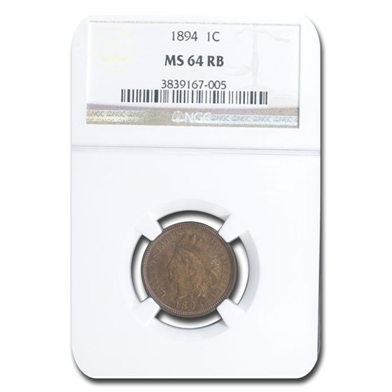 1894 Indian Head Cent MS-64 NGC (Red/Brown)