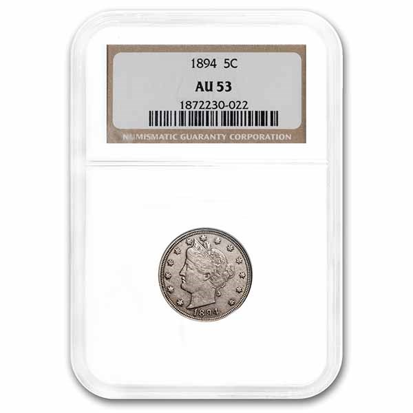 1894 Liberty Head V Nickel AU-53 NGC