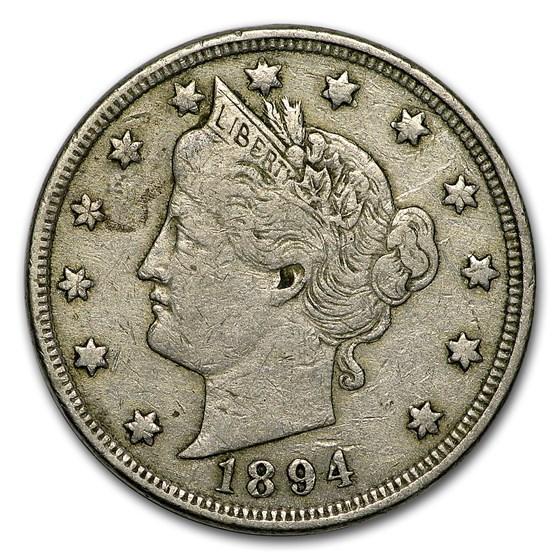 1894 Liberty Head V Nickel VF