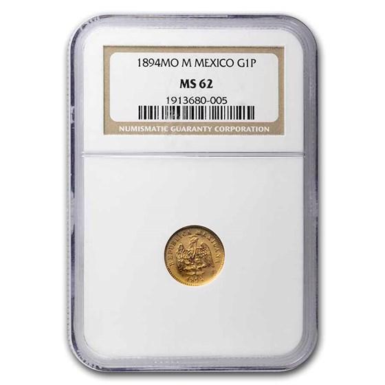 1894 Mo M Mexico Gold Peso MS-62 NGC