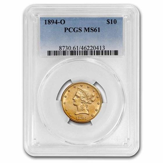 1894-O $10 Liberty Gold Eagle MS-61 PCGS