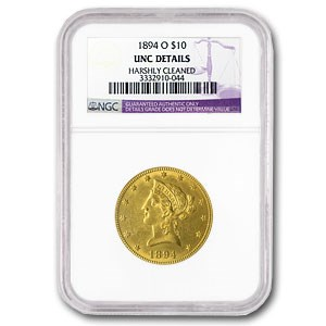 1894-O $10 Liberty Gold Eagle Unc Details NGC (Cleaned)