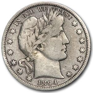 1894-O Barber Half Dollar VF Details (Cleaned)