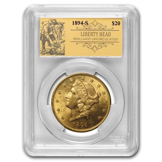 1894-S $20 Liberty Gold Double Eagle BU PCGS (Prospector Label)