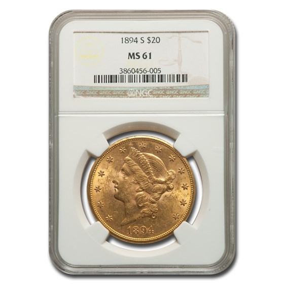 1894-S $20 Liberty Gold Double Eagle MS-61 NGC