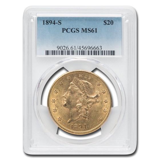 1894-S $20 Liberty Gold Double Eagle MS-61 PCGS