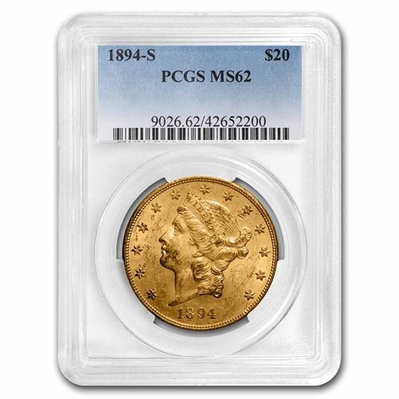 1894-S $20 Liberty Gold Double Eagle MS-62 PCGS
