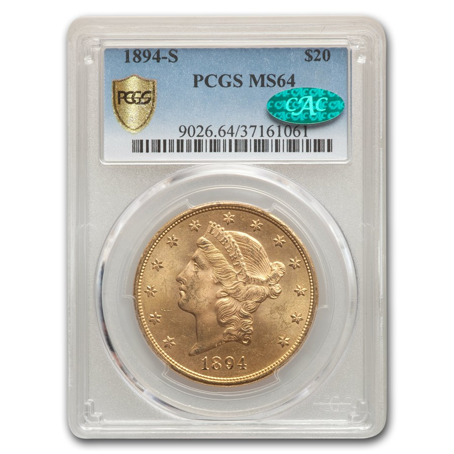 1894-S $20 Liberty Gold Double Eagle MS-64 PCGS CAC