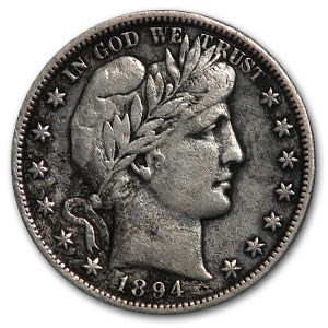 1894-S Barber Half Dollar VF Details (Cleaned)