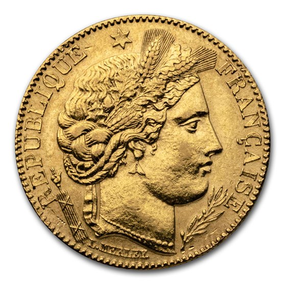 1895-1899 France Gold 10 Francs Late Head Ceres (AU)
