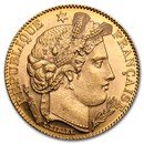 1895-1899 France Gold 10 Francs Late Head Ceres (BU)