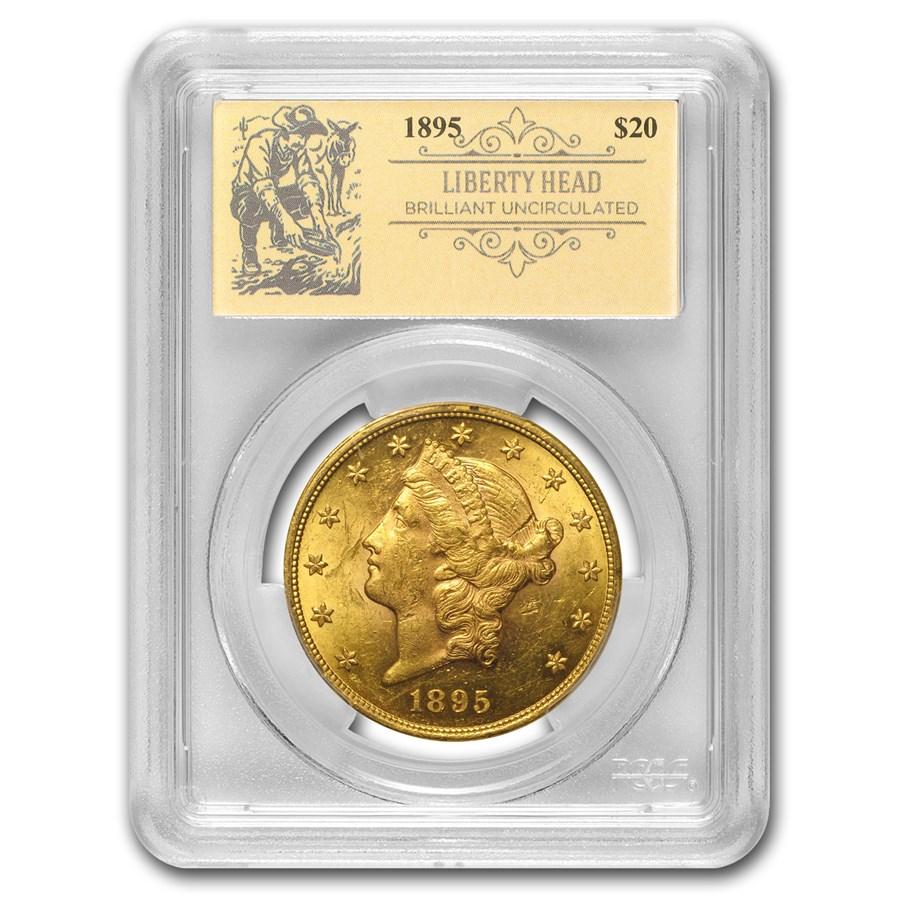 1895 $20 Liberty Gold Double Eagle BU PCGS (Prospector Label)