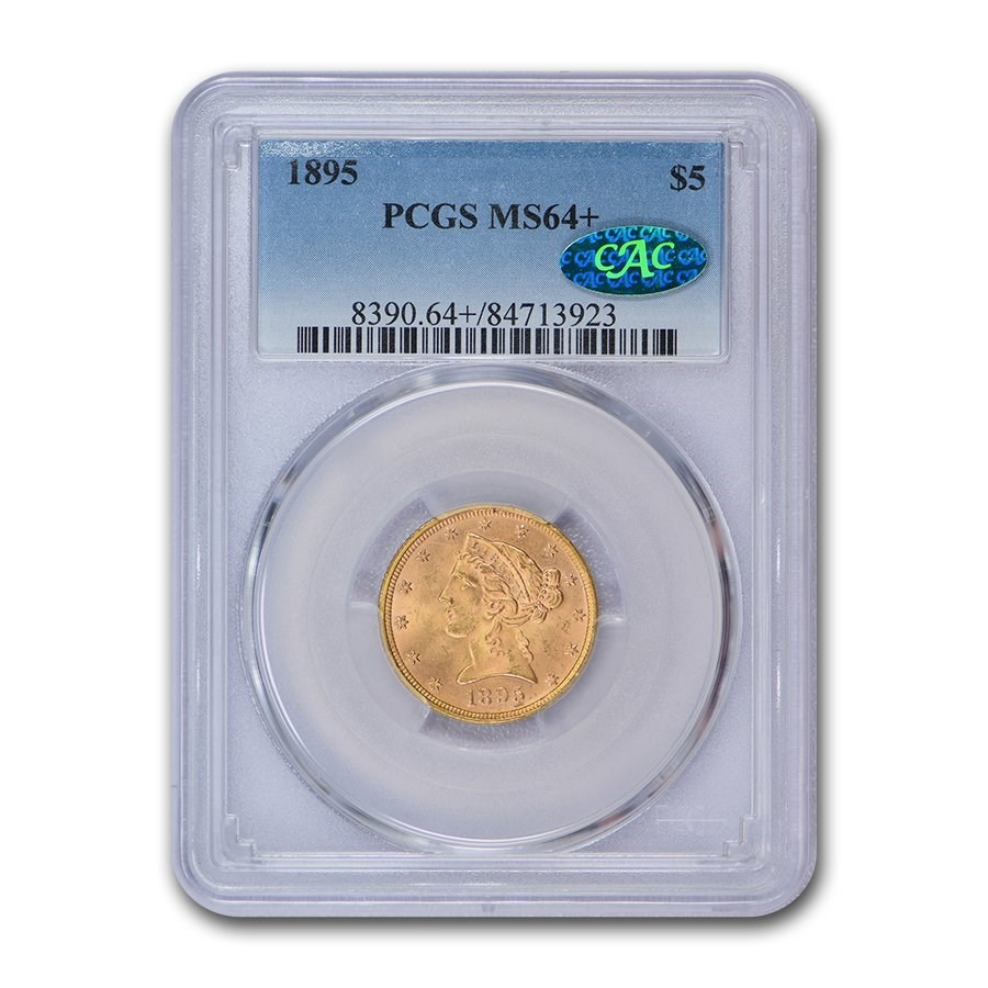1895 $5 Liberty Gold Half Eagle MS-64+ PCGS CAC