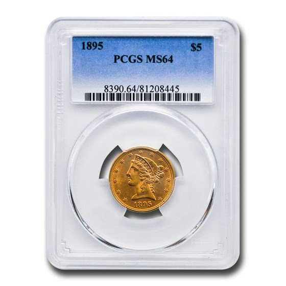 1895 $5 Liberty Gold Half Eagle MS-64 PCGS