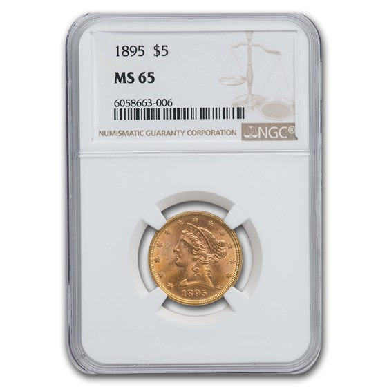 1895 $5 Liberty Gold Half Eagle MS-65 NGC