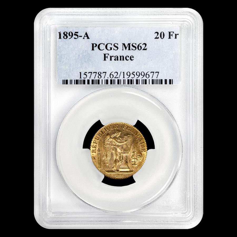 1895-A France Gold 20 Francs Angel MS-62 PCGS