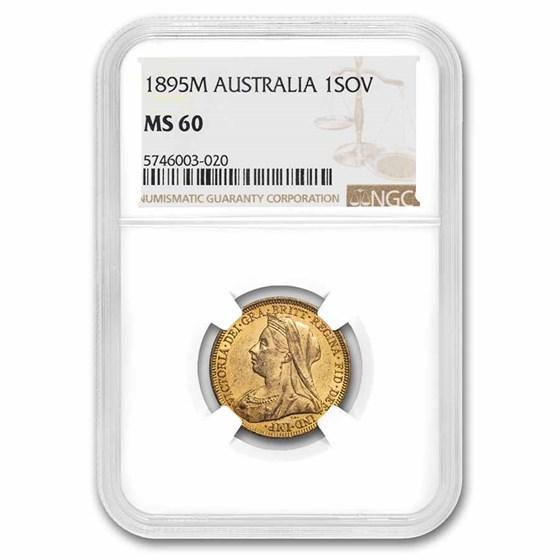 1895-M Australia Gold Sovereign Veil Head Victoria MS-60 NGC