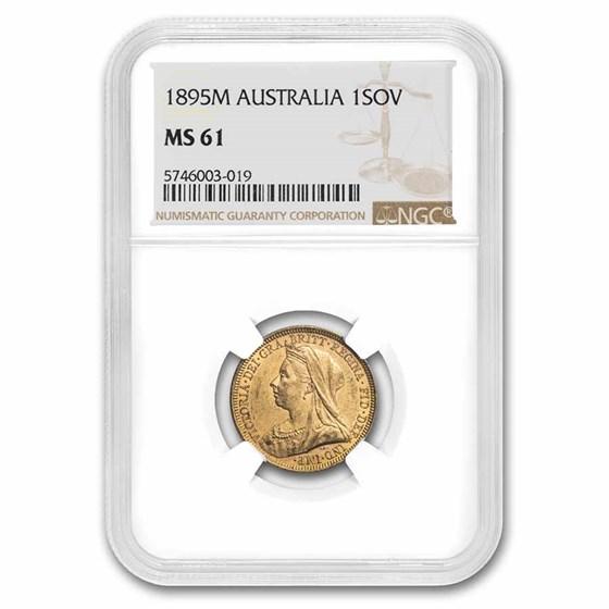 1895-M Australia Gold Sovereign Veil Head Victoria MS-61 NGC