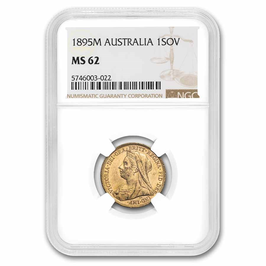 1895-M Australia Gold Sovereign Veil Head Victoria MS-62 NGC
