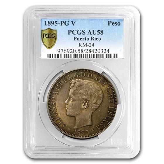 1895 Puerto Rico Silver Peso Choice AU-58 PCGS