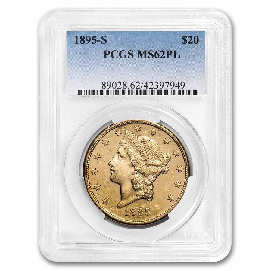 1895-S $20 Liberty Gold Double Eagle MS-62 PL PCGS