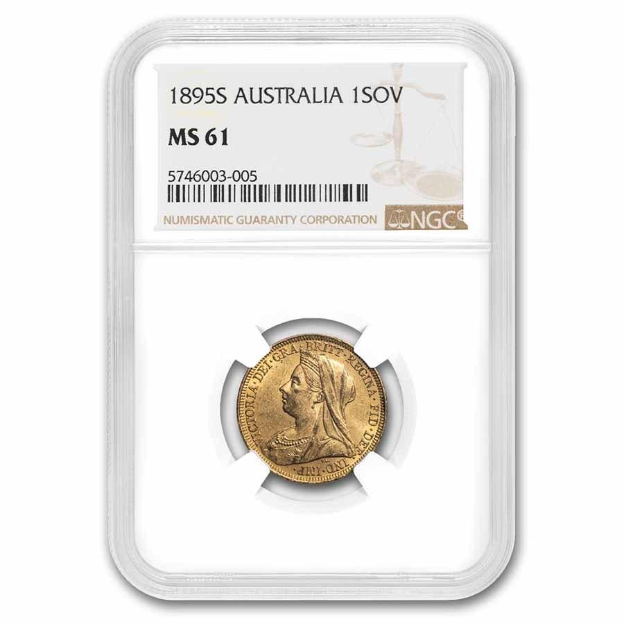 1895-S Australia Gold Sovereign Veil Head Victoria MS-61 NGC