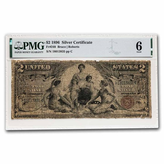 1896 $2.00 Silver Certificate Educational Note G-06 PMG (Fr#248)