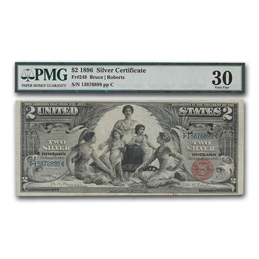 1896 $2.00 Silver Certificate Educational Note VF-30 PMG
