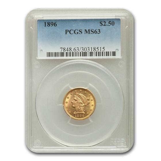 1896 $2.50 Liberty Gold Quarter Eagle MS-63 PCGS