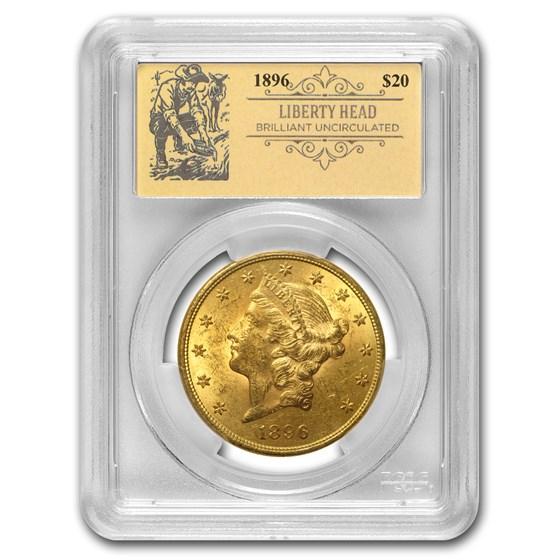 1896 $20 Liberty Gold Double Eagle BU PCGS (Prospector Label)