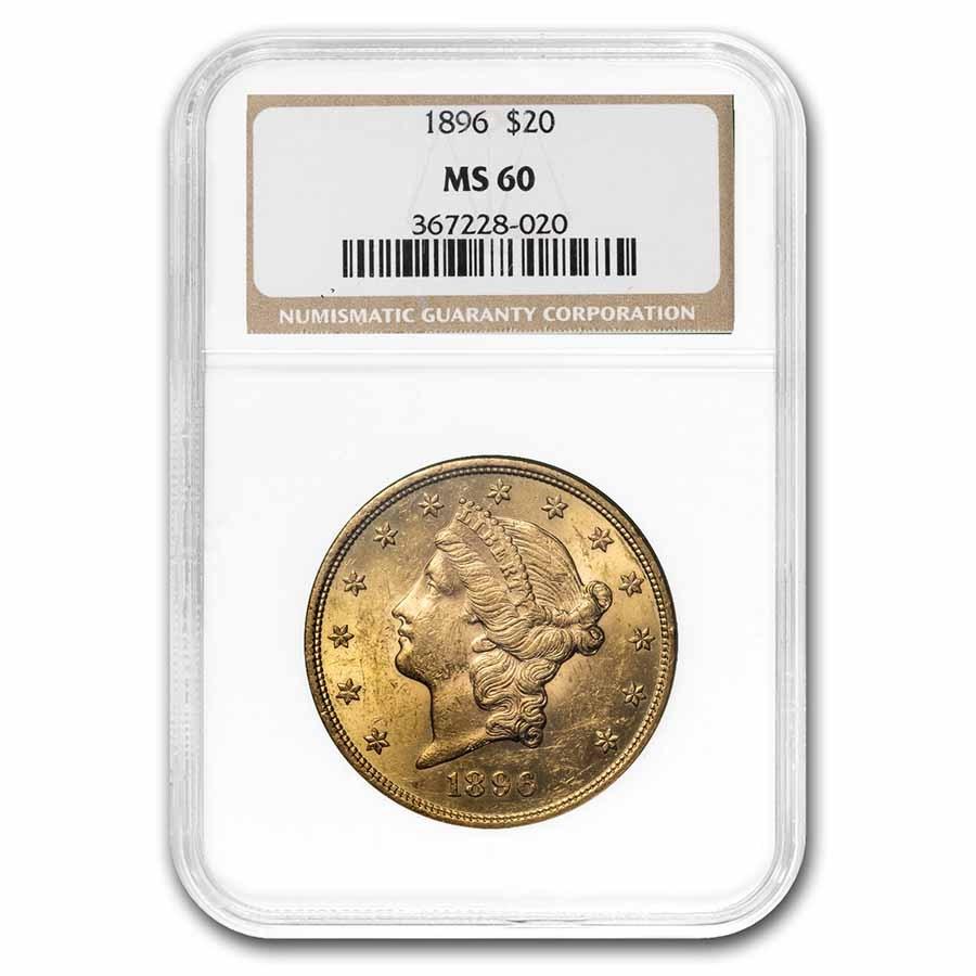 1896 $20 Liberty Gold Double Eagle MS-60 NGC