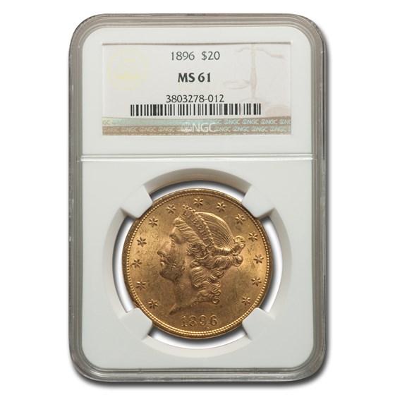 1896 $20 Liberty Gold Double Eagle MS-61 NGC