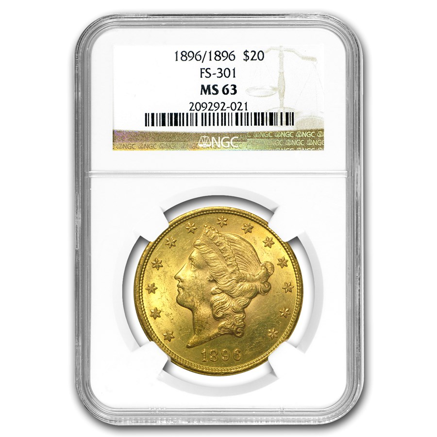 1896 $20 Liberty Gold Double Eagle MS-63 NGC (FS-301 RPD)