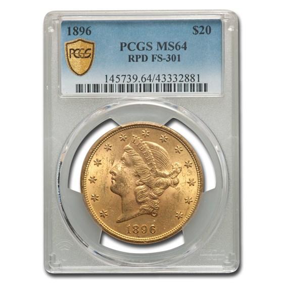 1896 $20 Liberty Gold Double Eagle MS-64 PCGS (FS-301 RPD)