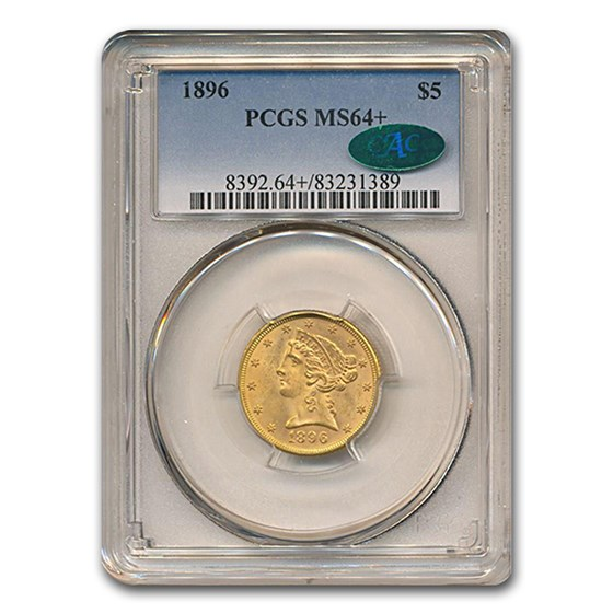 1896 $5 Liberty Gold Half Eagle MS-64+ PCGS CAC