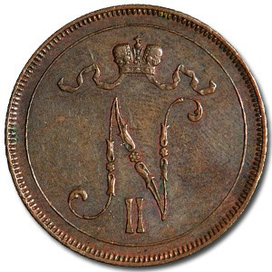 1896 Finland 10 Pennia XF