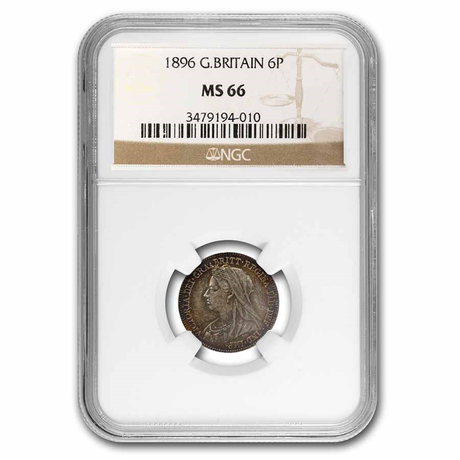 1896 Great Britain Silver 6 Pence Victoria MS-66 NGC