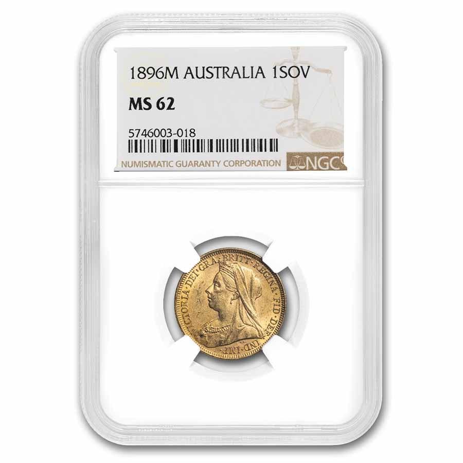 1896-M Australia Gold Sovereign Victoria Veiled Head MS-62 NGC