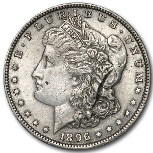 1896 Morgan Dollar AU (Obv Lamination Error)